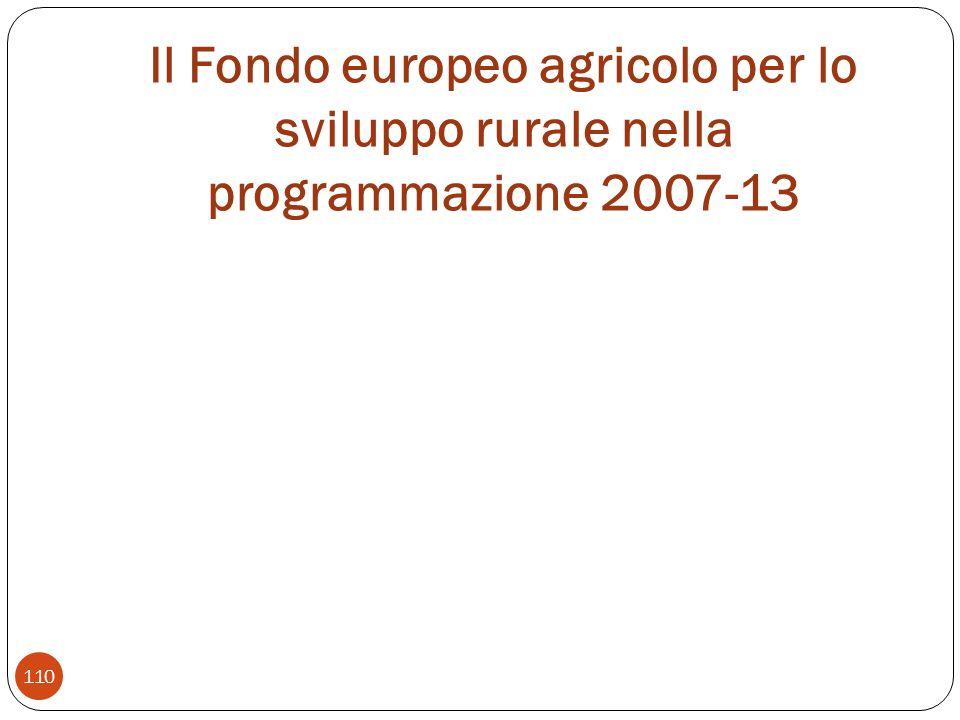 Il Fondo europeo agricolo per lo sviluppo rurale nella programmazione 2007-13 110