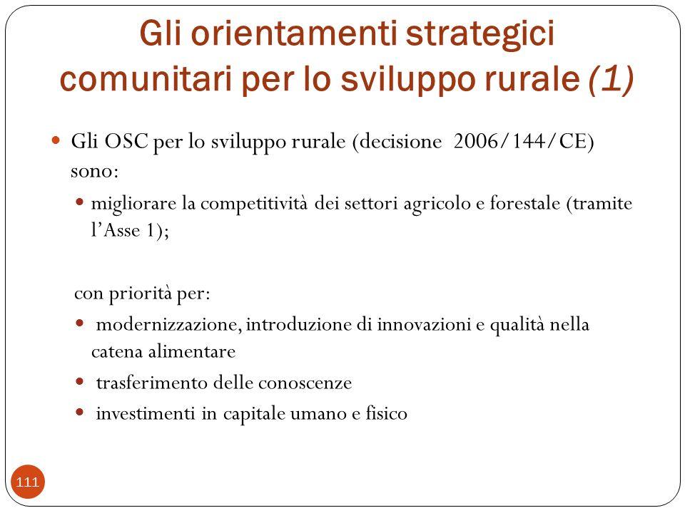 Gli orientamenti strategici comunitari per lo sviluppo rurale (1) Gli OSC per lo sviluppo rurale (decisione 2006/144/CE) sono: migliorare la competitività dei settori agricolo e forestale (tramite lAsse 1); con priorità per: modernizzazione, introduzione di innovazioni e qualità nella catena alimentare trasferimento delle conoscenze investimenti in capitale umano e fisico 111