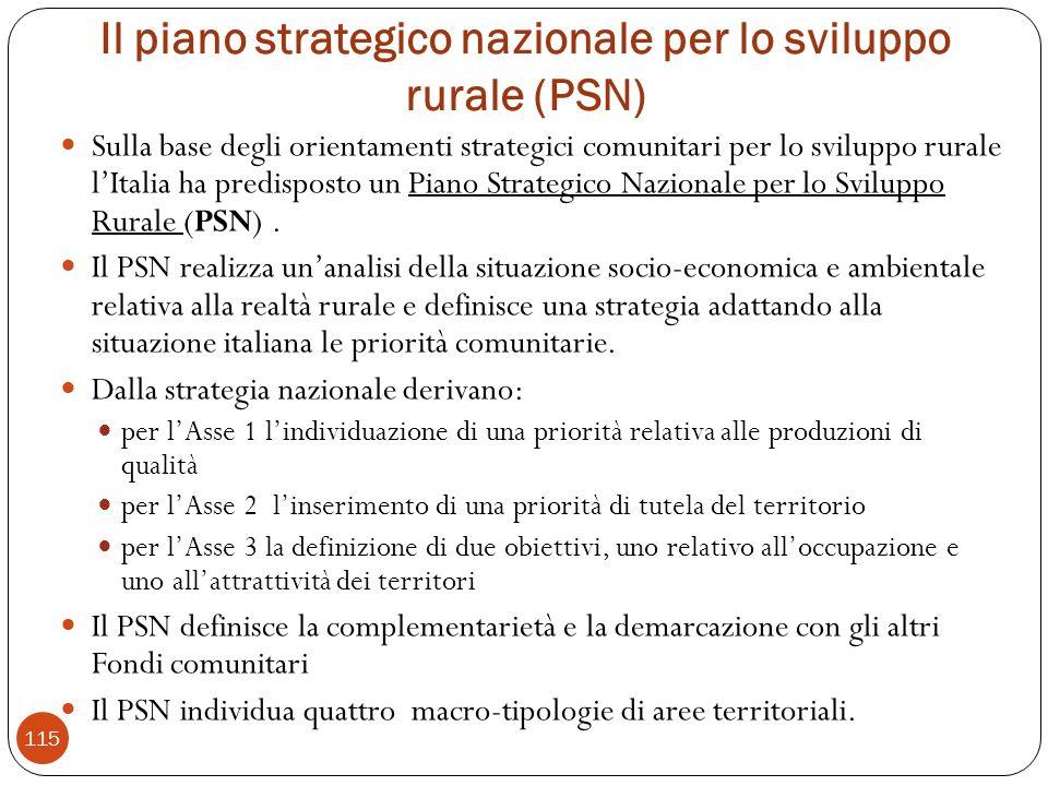 Il piano strategico nazionale per lo sviluppo rurale (PSN) Sulla base degli orientamenti strategici comunitari per lo sviluppo rurale lItalia ha predisposto un Piano Strategico Nazionale per lo Sviluppo Rurale (PSN).