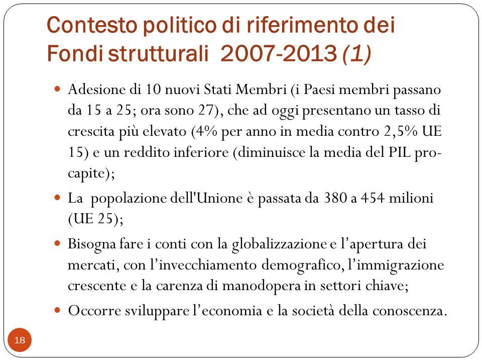 Contesto politico di riferimento dei Fondi strutturali 2007-2013 (1) 18 Adesione di 10 nuovi Stati Membri (i Paesi membri passano da 15 a 25; ora sono 27), che ad oggi presentano un tasso di crescita più elevato (4% per anno in media contro 2,5% UE 15) e un reddito inferiore (diminuisce la media del PIL pro- capite); La popolazione dell Unione è passata da 380 a 454 milioni (UE 25); Bisogna fare i conti con la globalizzazione e lapertura dei mercati, con linvecchiamento demografico, limmigrazione crescente e la carenza di manodopera in settori chiave; Occorre sviluppare leconomia e la società della conoscenza.