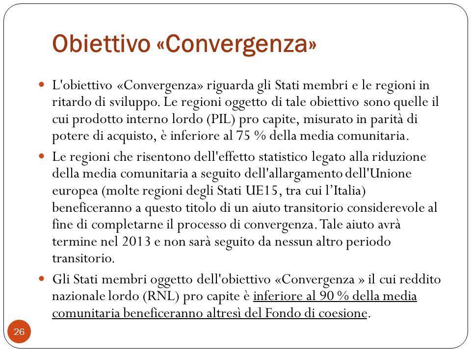 Obiettivo «Convergenza» L obiettivo «Convergenza» riguarda gli Stati membri e le regioni in ritardo di sviluppo.