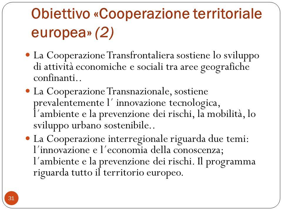 Obiettivo «Cooperazione territoriale europea» (2) La Cooperazione Transfrontaliera sostiene lo sviluppo di attività economiche e sociali tra aree geografiche confinanti..