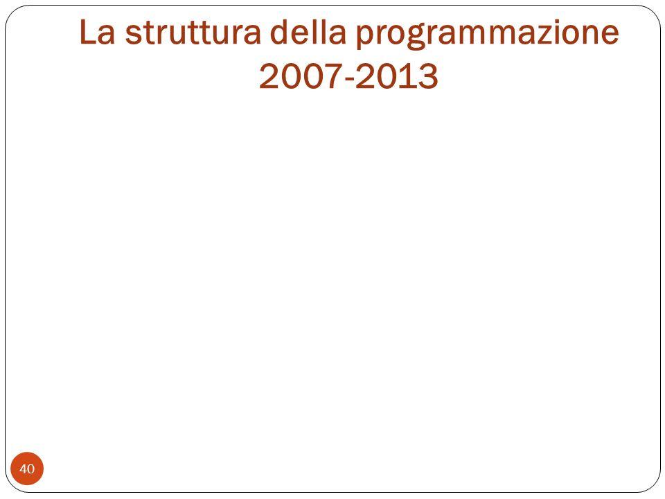 La struttura della programmazione 2007-2013 40