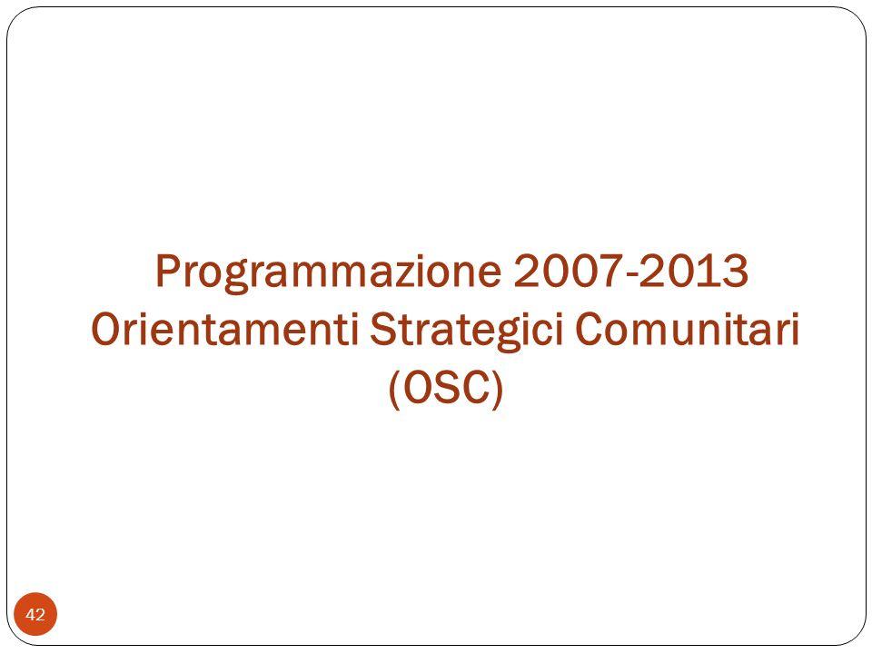 Programmazione 2007-2013 Orientamenti Strategici Comunitari (OSC) 42