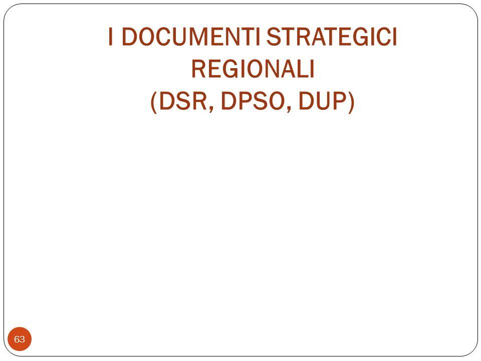 I DOCUMENTI STRATEGICI REGIONALI (DSR, DPSO, DUP) 63