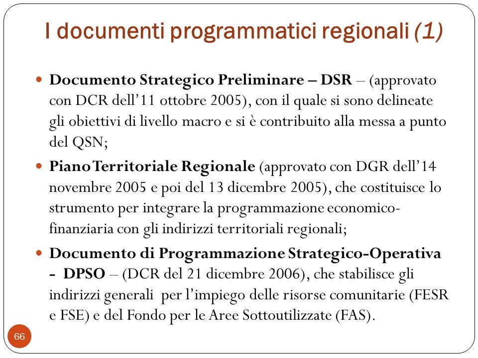 I documenti programmatici regionali (1) Documento Strategico Preliminare – DSR – (approvato con DCR dell11 ottobre 2005), con il quale si sono delineate gli obiettivi di livello macro e si è contribuito alla messa a punto del QSN; Piano Territoriale Regionale (approvato con DGR dell14 novembre 2005 e poi del 13 dicembre 2005), che costituisce lo strumento per integrare la programmazione economico- finanziaria con gli indirizzi territoriali regionali; Documento di Programmazione Strategico-Operativa - DPSO – (DCR del 21 dicembre 2006), che stabilisce gli indirizzi generali per limpiego delle risorse comunitarie (FESR e FSE) e del Fondo per le Aree Sottoutilizzate (FAS).