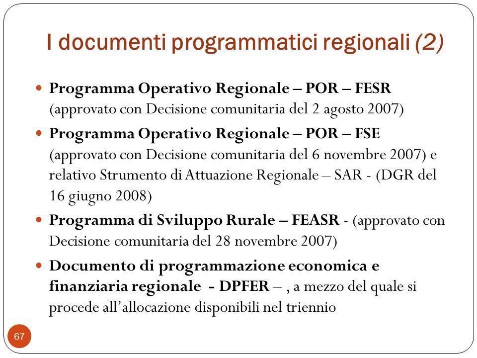 I documenti programmatici regionali (2) Programma Operativo Regionale – POR – FESR (approvato con Decisione comunitaria del 2 agosto 2007) Programma Operativo Regionale – POR – FSE (approvato con Decisione comunitaria del 6 novembre 2007) e relativo Strumento di Attuazione Regionale – SAR - (DGR del 16 giugno 2008) Programma di Sviluppo Rurale – FEASR - (approvato con Decisione comunitaria del 28 novembre 2007) Documento di programmazione economica e finanziaria regionale - DPFER –, a mezzo del quale si procede allallocazione disponibili nel triennio 67
