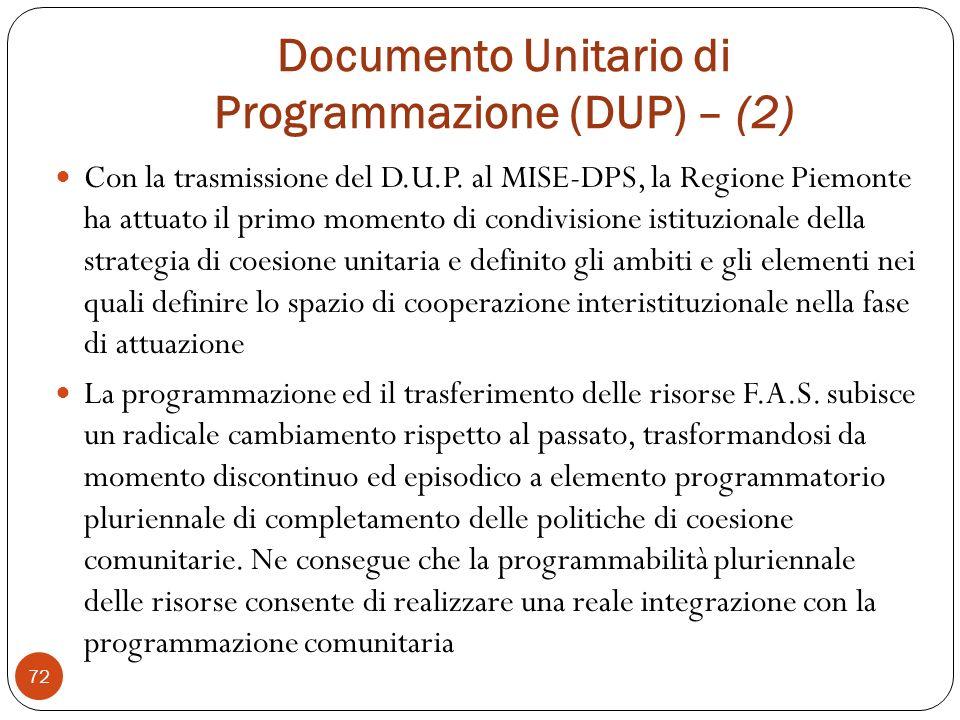 Documento Unitario di Programmazione (DUP) – (2) 72 Con la trasmissione del D.U.P.