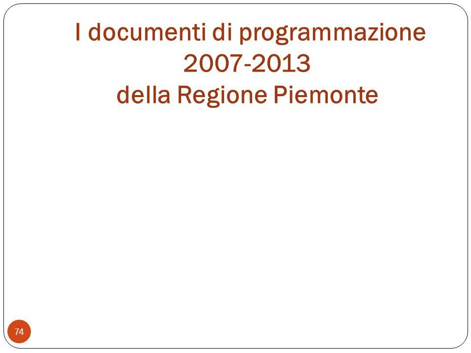 I documenti di programmazione 2007-2013 della Regione Piemonte 74