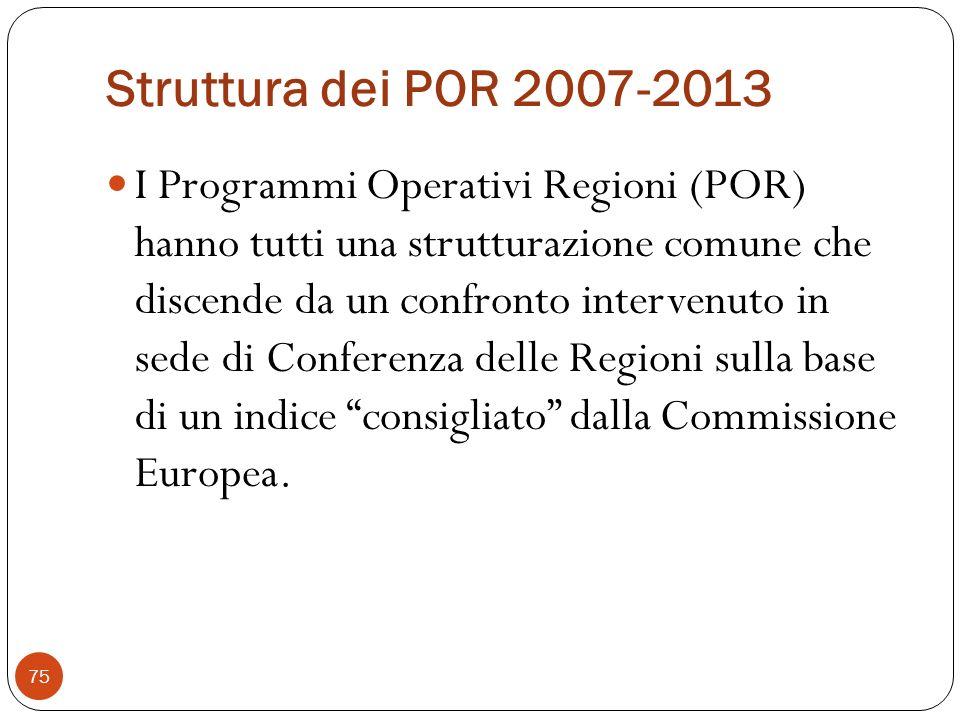 Struttura dei POR 2007-2013 I Programmi Operativi Regioni (POR) hanno tutti una strutturazione comune che discende da un confronto intervenuto in sede di Conferenza delle Regioni sulla base di un indice consigliato dalla Commissione Europea.
