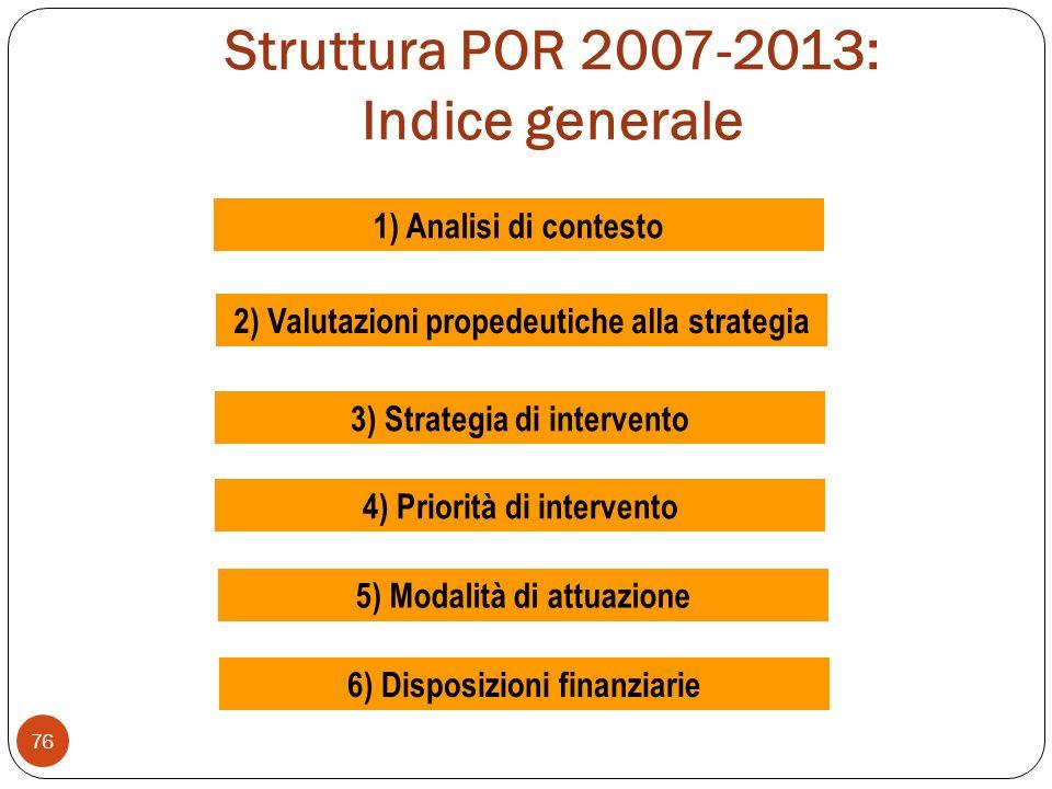 Struttura POR 2007-2013: Indice generale 76 1) Analisi di contesto 2) Valutazioni propedeutiche alla strategia 3) Strategia di intervento 4) Priorità di intervento 5) Modalità di attuazione 6) Disposizioni finanziarie