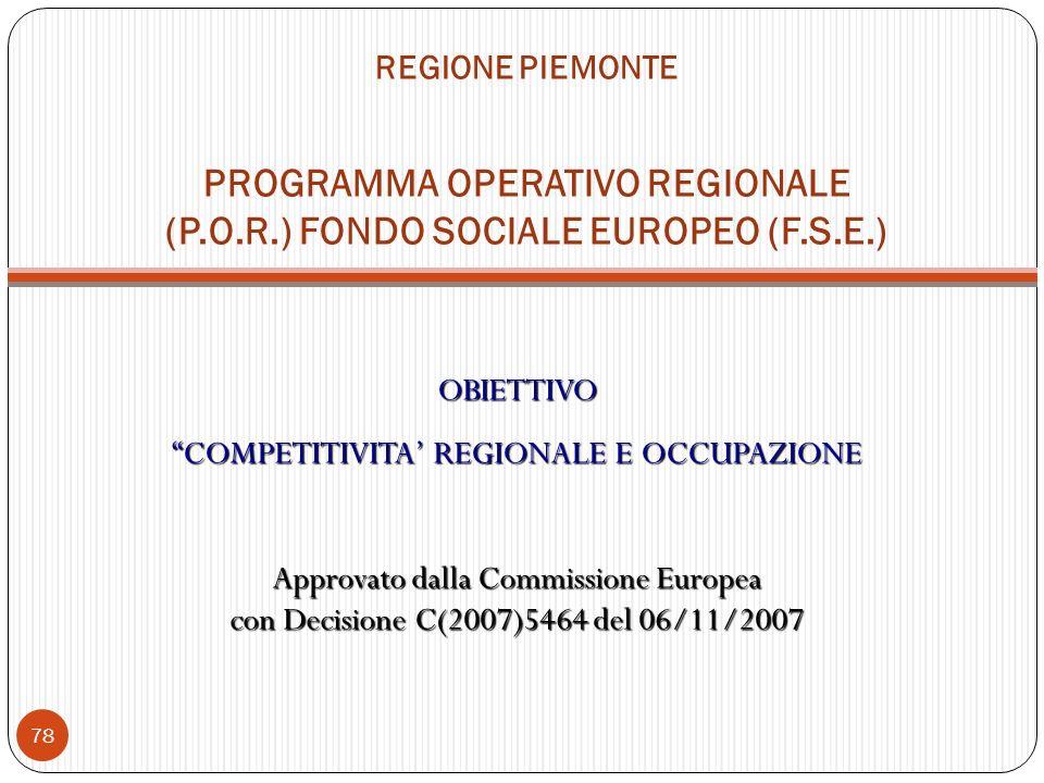 REGIONE PIEMONTE PROGRAMMA OPERATIVO REGIONALE (P.O.R.) FONDO SOCIALE EUROPEO (F.S.E.) OBIETTIVO COMPETITIVITA REGIONALE E OCCUPAZIONE Approvato dalla Commissione Europea con Decisione C(2007)5464 del 06/11/2007 78