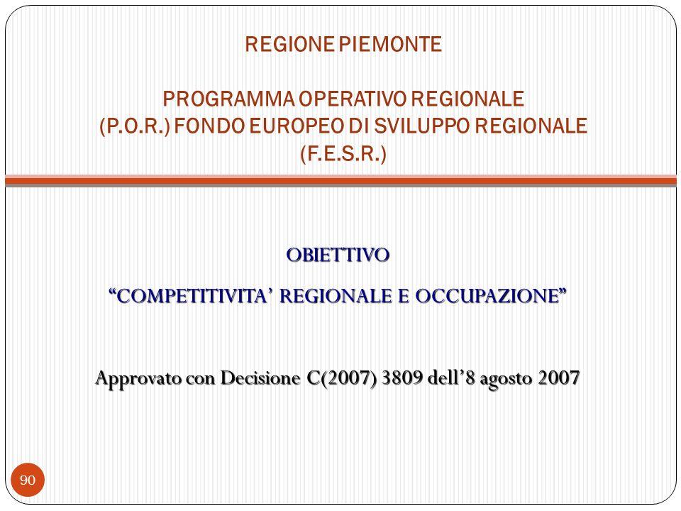 REGIONE PIEMONTE PROGRAMMA OPERATIVO REGIONALE (P.O.R.) FONDO EUROPEO DI SVILUPPO REGIONALE (F.E.S.R.) OBIETTIVO COMPETITIVITA REGIONALE E OCCUPAZIONE Approvato con Decisione C(2007) 3809 dell8 agosto 2007 90
