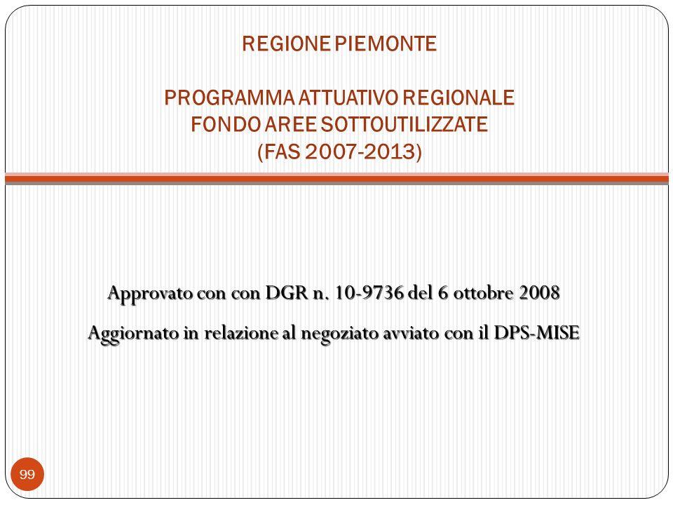 REGIONE PIEMONTE PROGRAMMA ATTUATIVO REGIONALE FONDO AREE SOTTOUTILIZZATE (FAS 2007-2013) Approvato con con DGR n.