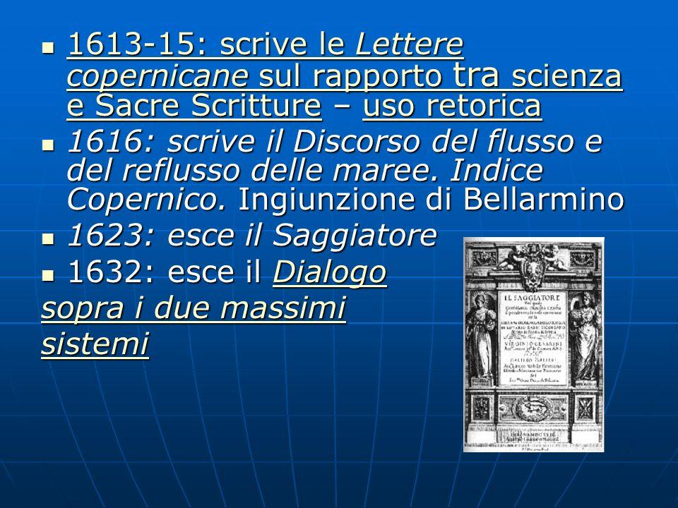 1613-15: scrive le Lettere copernicane sul rapporto tra scienza e Sacre Scritture – uso retorica 1613-15: scrive le Lettere copernicane sul rapporto t
