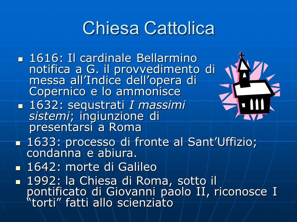 Chiesa Cattolica 1616: Il cardinale Bellarmino notifica a G. il provvedimento di messa allIndice dellopera di Copernico e lo ammonisce 1616: Il cardin