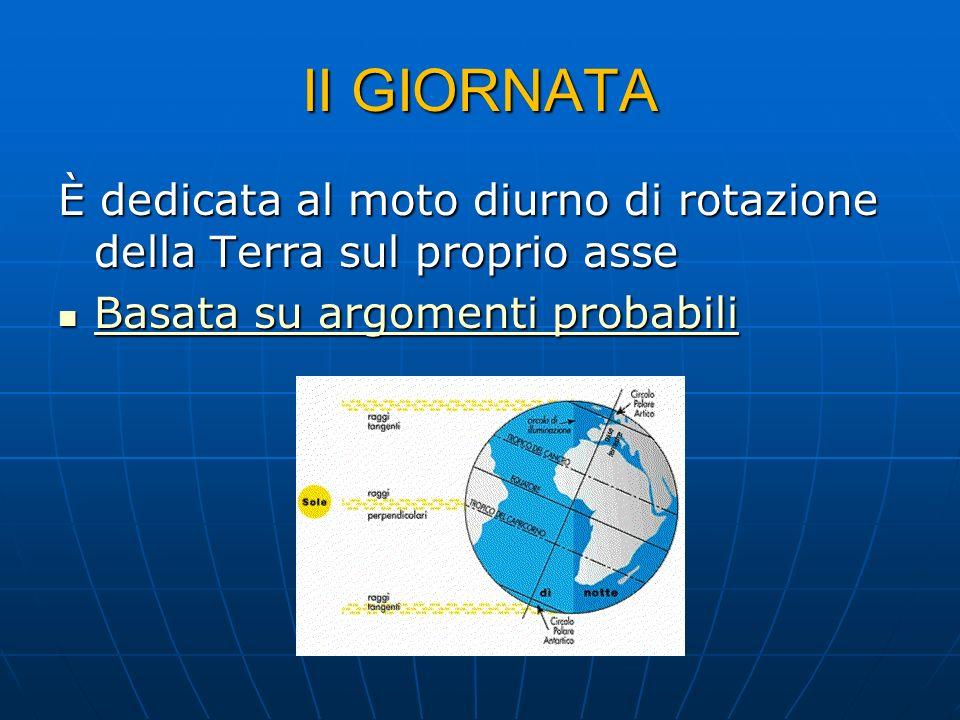 II GIORNATA È dedicata al moto diurno di rotazione della Terra sul proprio asse Basata su argomenti probabili Basata su argomenti probabili Basata su