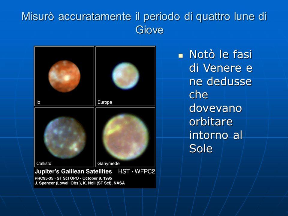 Misurò accuratamente il periodo di quattro lune di Giove Notò le fasi di Venere e ne dedusse che dovevano orbitare intorno al Sole Notò le fasi di Ven