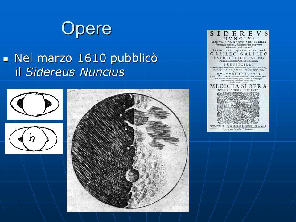 Opere Nel marzo 1610 pubblicò Nel marzo 1610 pubblicò il Sidereus Nuncius il Sidereus Nuncius