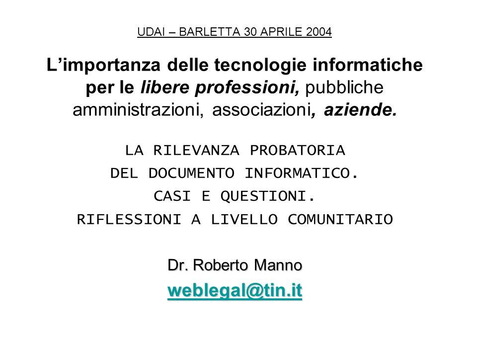 UDAI – BARLETTA 30 APRILE 2004 Limportanza delle tecnologie informatiche per le libere professioni, pubbliche amministrazioni, associazioni, aziende.