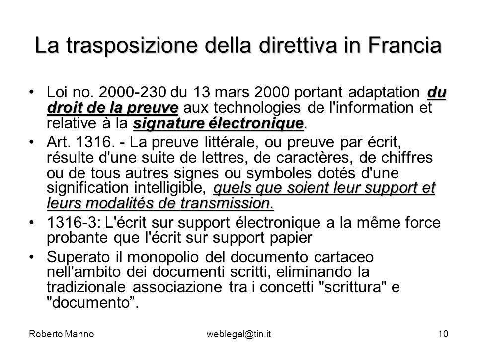 Roberto Mannoweblegal@tin.it10 La trasposizione della direttiva in Francia du droit de la preuve signature électronique.Loi no. 2000-230 du 13 mars 20