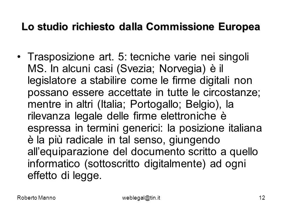 Roberto Mannoweblegal@tin.it12 Lo studio richiesto dalla Commissione Europea Trasposizione art. 5: tecniche varie nei singoli MS. In alcuni casi (Svez
