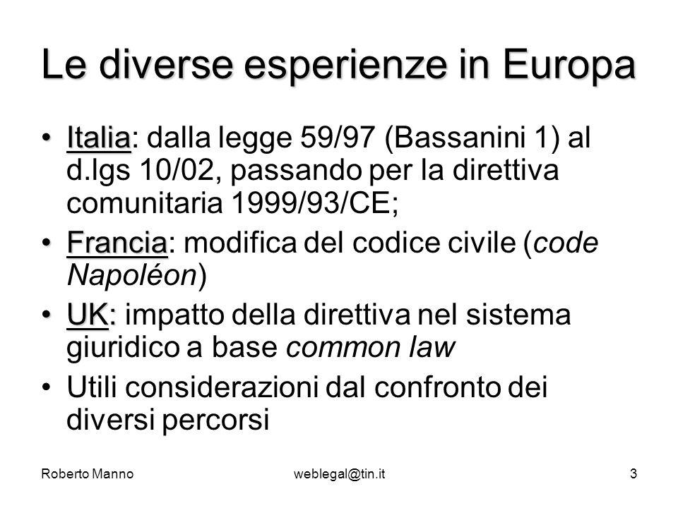 Roberto Mannoweblegal@tin.it3 Le diverse esperienze in Europa ItaliaItalia: dalla legge 59/97 (Bassanini 1) al d.lgs 10/02, passando per la direttiva