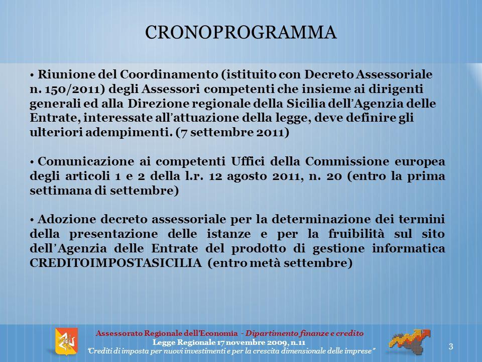CRONOPROGRAMMA Riunione del Coordinamento (istituito con Decreto Assessoriale n.