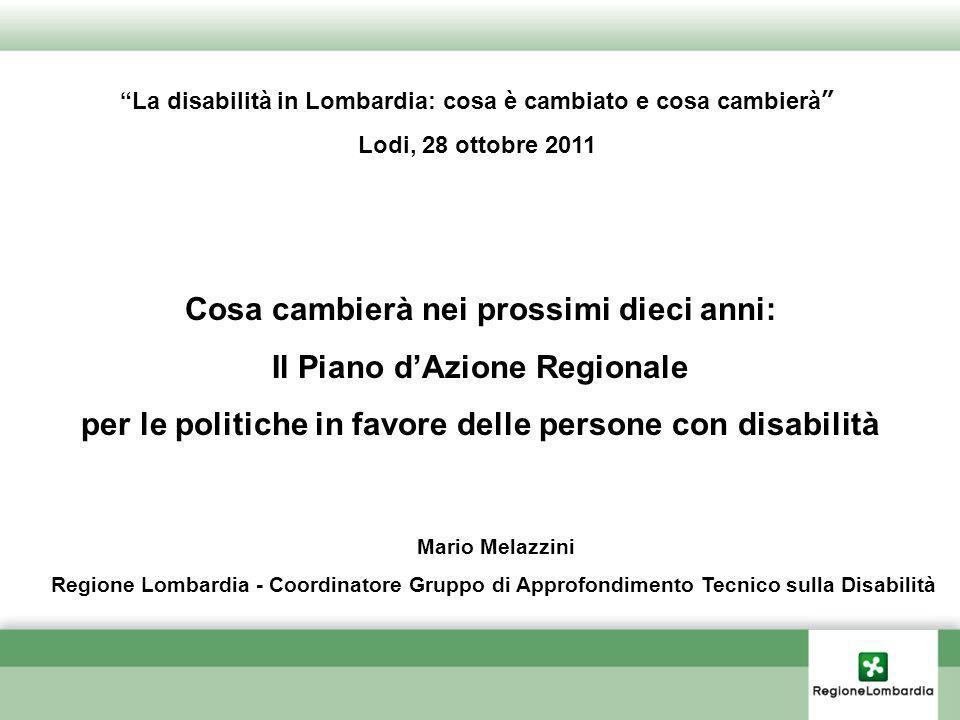 Cosa cambierà nei prossimi dieci anni: Il Piano dAzione Regionale per le politiche in favore delle persone con disabilità La disabilità in Lombardia: