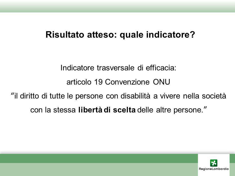 Risultato atteso: quale indicatore? Indicatore trasversale di efficacia: articolo 19 Convenzione ONU il diritto di tutte le persone con disabilità a v
