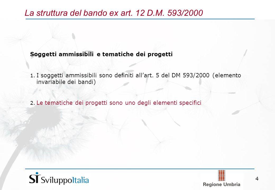 4 La struttura del bando ex art. 12 D.M. 593/2000 Soggetti ammissibili e tematiche dei progetti 1.