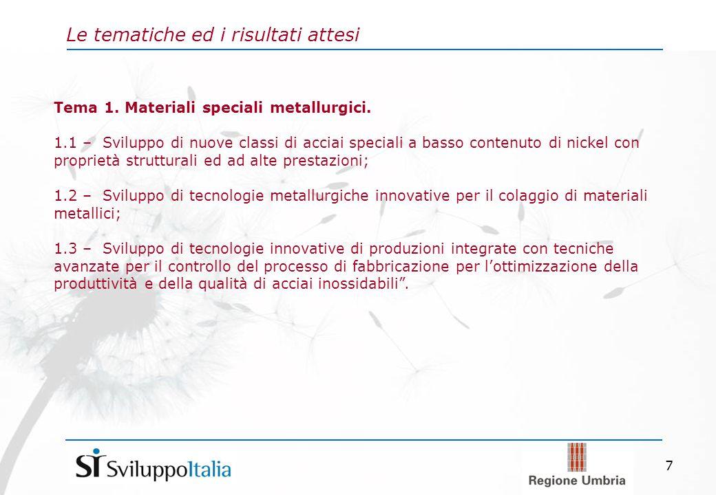 7 Le tematiche ed i risultati attesi Tema 1. Materiali speciali metallurgici.