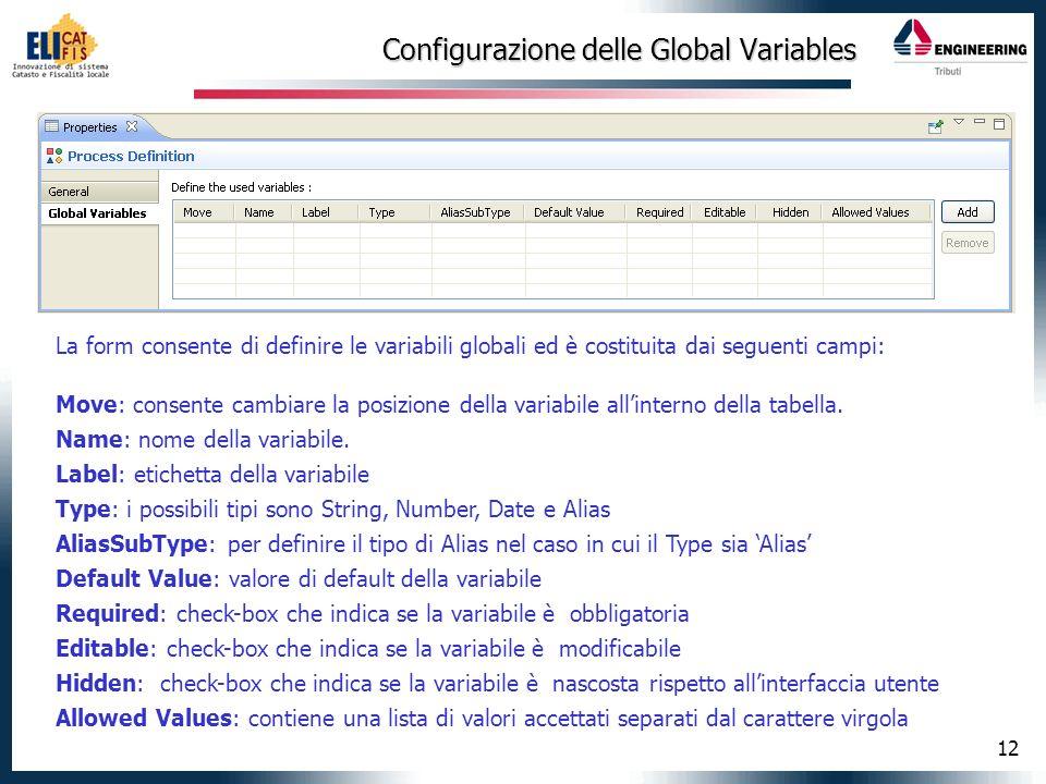 12 Configurazione delle Global Variables La form consente di definire le variabili globali ed è costituita dai seguenti campi: Move: consente cambiare