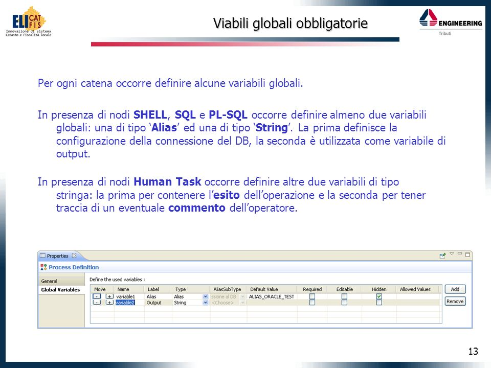 13 Viabili globali obbligatorie Per ogni catena occorre definire alcune variabili globali. In presenza di nodi SHELL, SQL e PL-SQL occorre definire al