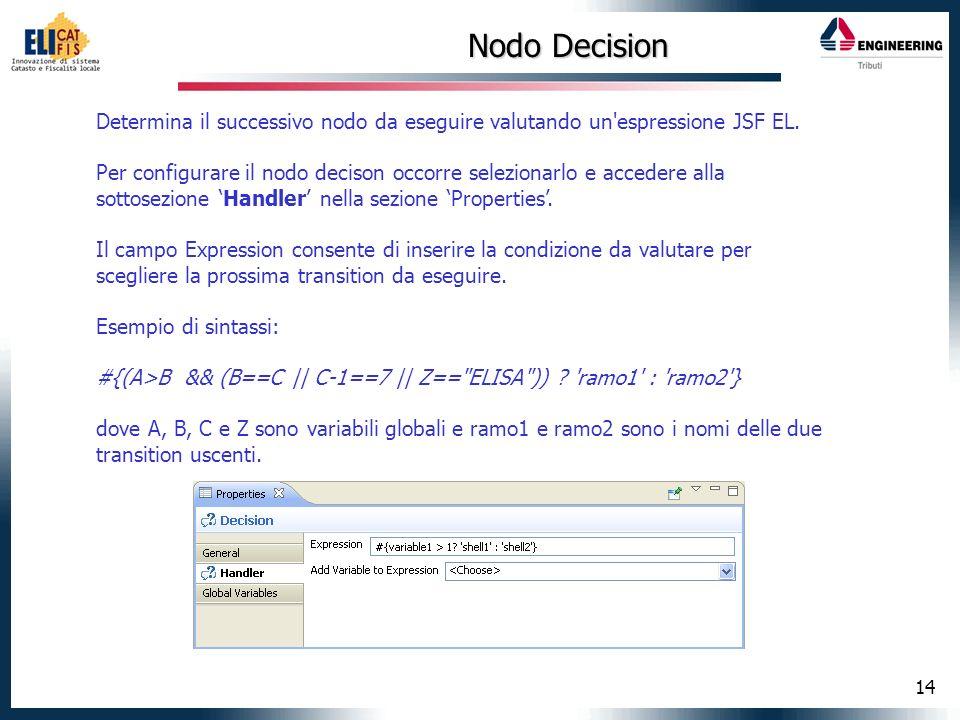 14 Nodo Decision Determina il successivo nodo da eseguire valutando un'espressione JSF EL. Per configurare il nodo decison occorre selezionarlo e acce