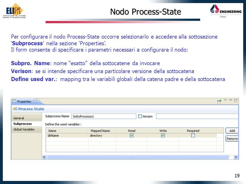 19 Nodo Process-State Per configurare il nodo Process-State occorre selezionarlo e accedere alla sottosezioneSubprocess nella sezione Properties. Il f