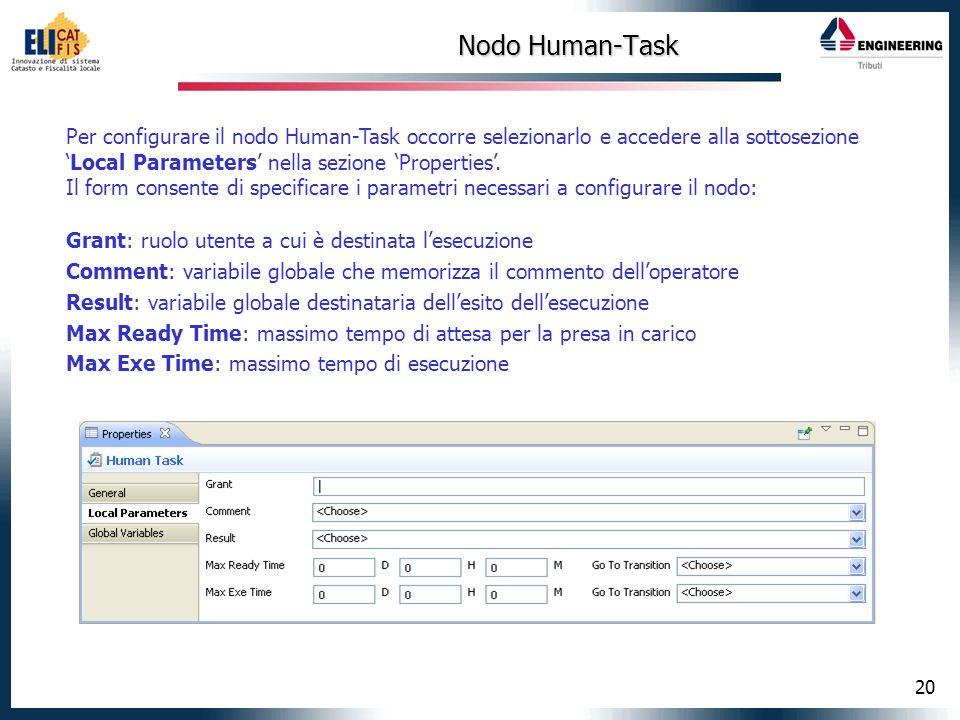 20 Nodo Human-Task Per configurare il nodo Human-Task occorre selezionarlo e accedere alla sottosezioneLocal Parameters nella sezione Properties. Il f