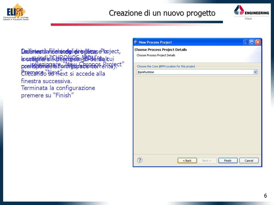 7 Struttura del progetto Nel pannello Package Explorer sarà visibile il nuovo progetto costituito dalle seguenti cartelle: src/main/jpdl: contiene le definizioni delle catene src/test/java: contiene una classe di test src/main/config: contiene un file hibernate di default src/main/java: si possono inserire eventuali handler personalizzati (versioni future – nodo java)