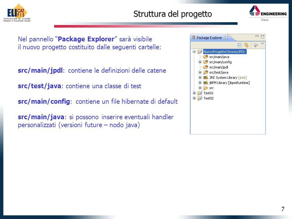7 Struttura del progetto Nel pannello Package Explorer sarà visibile il nuovo progetto costituito dalle seguenti cartelle: src/main/jpdl: contiene le
