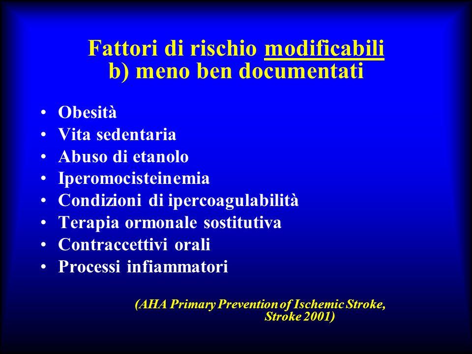 Fattori di rischio modificabili b) meno ben documentati Obesità Vita sedentaria Abuso di etanolo Iperomocisteinemia Condizioni di ipercoagulabilità Te