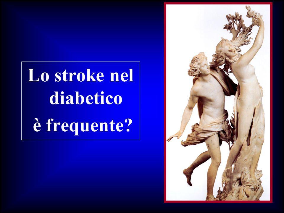 I pazienti diabetici hanno rischio raddoppiato di stroke aumentata mortalità e minor recupero (concomitanza di neuropatia diabetica) aumentata probabilità (12 volte) di ospedalizzazione per stroke (Caplan: Diabetes 1996) (Currie Stroke 1997)