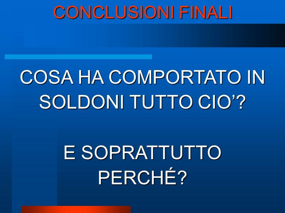 CONCLUSIONI FINALI COSA HA COMPORTATO IN SOLDONI TUTTO CIO E SOPRATTUTTO PERCHÉ