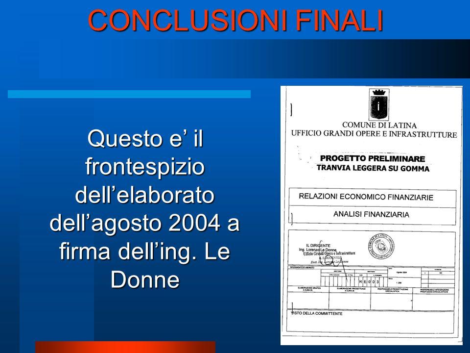 CONCLUSIONI FINALI Questo e il frontespizio dellelaborato dellagosto 2004 a firma delling. Le Donne