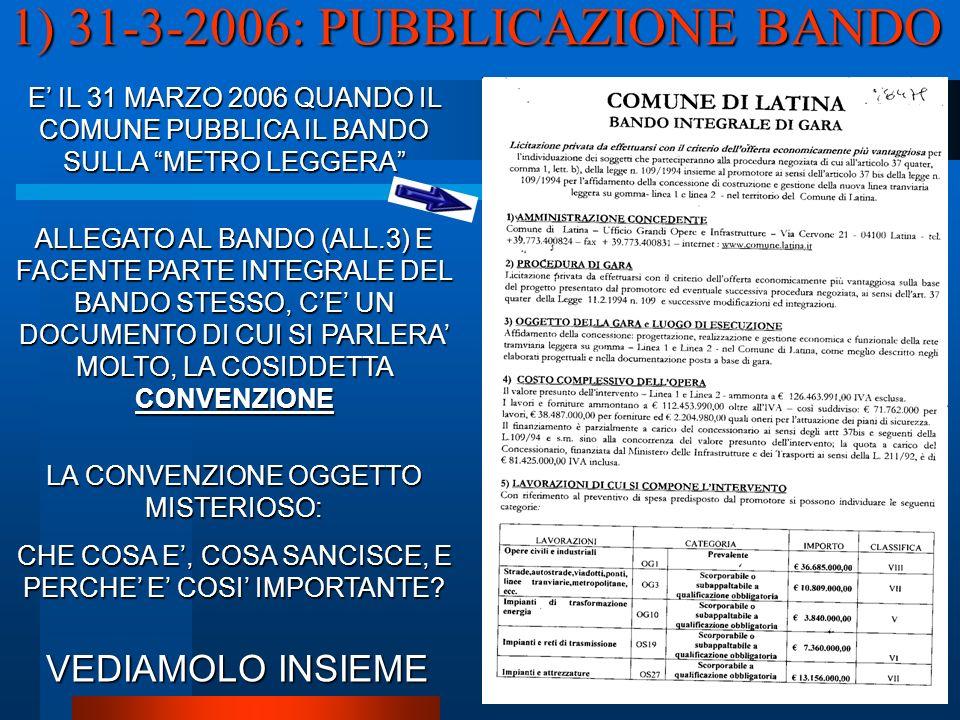 1) 31-3-2006: PUBBLICAZIONE BANDO E IL 31 MARZO 2006 QUANDO IL COMUNE PUBBLICA IL BANDO SULLA METRO LEGGERA ALLEGATO AL BANDO (ALL.3) E FACENTE PARTE INTEGRALE DEL BANDO STESSO, CE UN DOCUMENTO DI CUI SI PARLERA MOLTO, LA COSIDDETTA CONVENZIONE LA CONVENZIONE OGGETTO MISTERIOSO: CHE COSA E, COSA SANCISCE, E PERCHE E COSI IMPORTANTE.