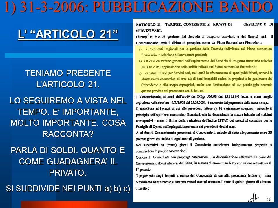 L ARTICOLO 21 TENIAMO PRESENTE LARTICOLO 21. LO SEGUIREMO A VISTA NEL TEMPO.