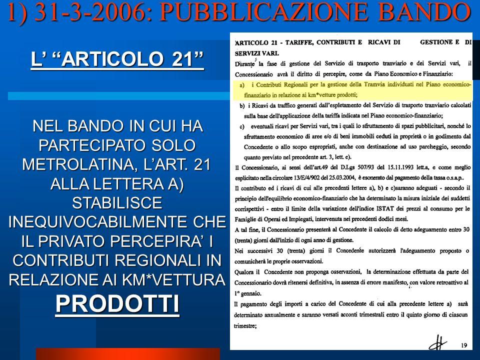 1) 31-3-2006: PUBBLICAZIONE BANDO L ARTICOLO 21 NEL BANDO IN CUI HA PARTECIPATO SOLO METROLATINA, LART.