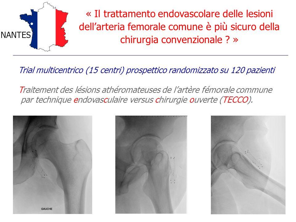 « Il trattamento endovascolare delle lesioni dellarteria femorale comune è più sicuro della chirurgia convenzionale ? » NANTES Trial multicentrico (15