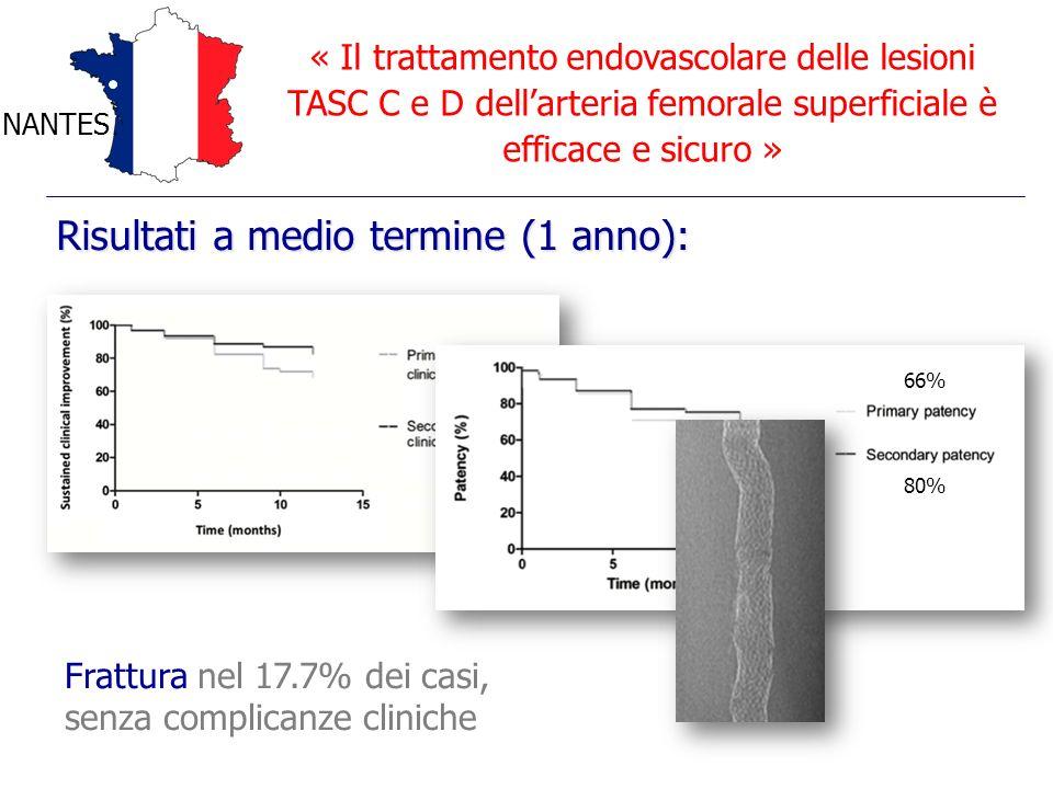 « Il trattamento endovascolare delle lesioni TASC C e D dellarteria femorale superficiale è efficace e sicuro » NANTES Frattura nel 17.7% dei casi, se