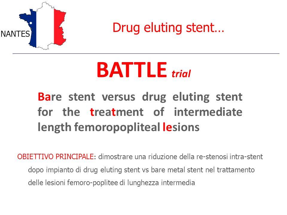 Drug eluting stent… NANTES BATTLE trial Bare stent versus drug eluting stent for the treatment of intermediate length femoropopliteal lesions OBIETTIV
