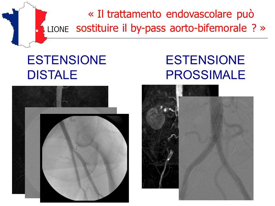 « Il trattamento endovascolare può sostituire il by-pass aorto-bifemorale ? » LIONE ESTENSIONE DISTALE ESTENSIONE PROSSIMALE